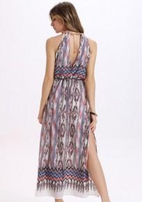 White Floral Cut Out Chain Side Slit Fashion Maxi Dress