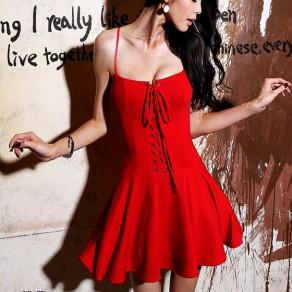 Red Plain Draped Spaghetti Straps Lace-up Square Neck A-line Mini Dress