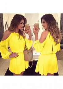 Yellow Plain Condole Belt Cut Out Fashion Mini Dress