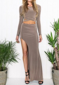 Khaki Plain 2-in-1 Crop Cut Out Side Slit Maxi Dress