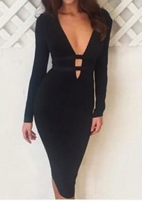 Mi-longue robe découpé col V plongeant manches longues moulante cocktail noir