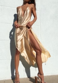 Beige Plain Condole Belt Tie Back Backless Plunging Neckline Maxi Dress