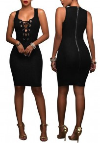 Black Plain Hollow-out Zipper Round Neck Sleeveless Bodycon Denim Mini Dress