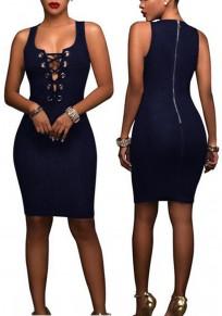 Sapphire Blue Plain Hollow-out Zipper Round Neck Sleeveless Bodycon Denim Mini Dress