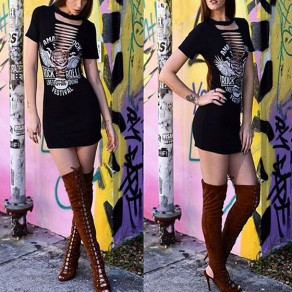 Black Monogram Print Hollow-out Halter Neck Short Sleeve T-shirt Mini Dress