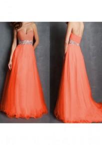 Orange Patchwork Bandeau Sequin Grenadine Fashion Maxi Dress