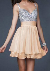 Beige Patchwork Backless Sequin Condole Belt Fashion Mini Dress