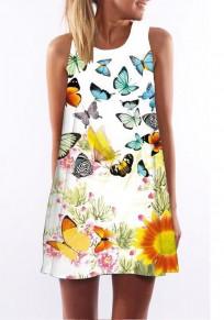 Weiß Schmetterling Print Rundhals Ärmellos Minikleid Sommerkleid Strandkleid