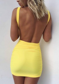 Yellow Plain Backless Round Neck Mini Dress