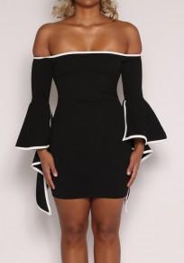 Mini-robe manchon évasé irrégulier à l'épave sans tête bodycon noir-blanc