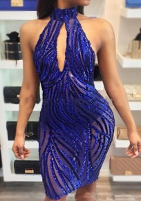 Sapphire Blue Plain Sequin See-through Halter Neck Backless Bodycon Midi Dress
