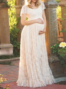 White Patchwork Lace Hollow-out A-line Peplum Sweet Floor Length Maxi Dress