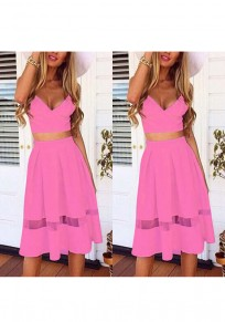 Pink Patchwork 2-in-1 Plunging Neckline Fashion Lace Midi Dress