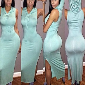 Light Blue Plain Drawstring Side Slit Sleeveless Clubwear Hooded Midi Dress