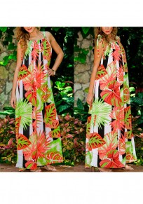 Multicolor Flowers Print Draped Lace-up Halter Neck Sleeveless Bohemian Maxi Dress