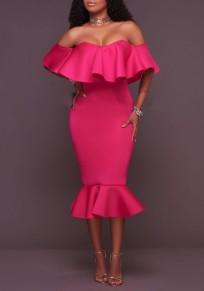 Rose Karmin Ebene Bandeaukleider Schößchen Bootshals Aus Schulter Meerjungfrau Midi Kleid