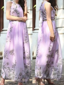 Lavender Purple Floral Print Tie Back Belt Halter Neck Flowy Bohemian Beach Wedding Maxi Dress