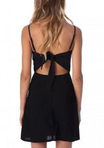 Black Plain Condole Belt Tie Back Sleeveless Fashion Mini Dress