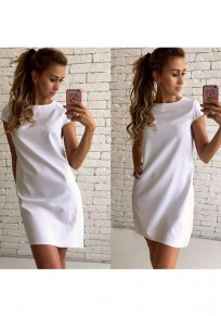 White Plain Round Neck Short Sleeve Casual Mini Dress