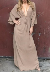 Camel Plain Drawstring Plunging Neckline Bohemian Maxi Dress