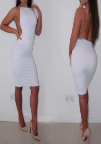 White Plain Chain Spaghetti Straps Backless Bodycon Club Midi Dress