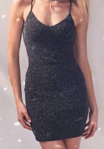 Black Plain Cut Out Condole Belt Bright Wire Mini Dress