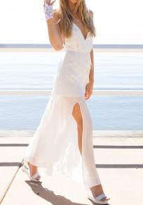 White Plain Spaghetti Strap Sashes Double-deck Backless Maxi Dress