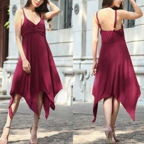 Purplish Red Plain Irregular Draped Spaghetti Straps Backless Midi Dress
