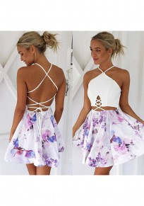 White Patchwork Pattern Tie Back Sleeveless Fashion Mini Dress