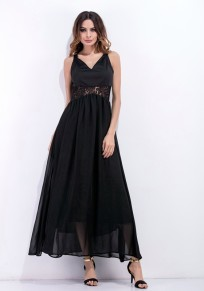 Black Patchwork Condole Belt Hollow-out Grenadine Lace Maxi Dress
