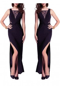 Black Patchwork Lace Irregular Sleeveless Party Slim Maxi Dress