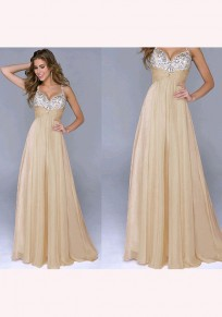 Apricot Patchwork Sequin Grenadine Plunging Neckline Fashion Maxi Dress