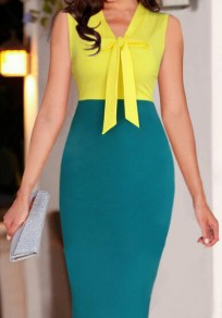 Yellow Patchwork Bow Zipper V-neck Fashion Midi Dress