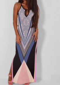 Blue Floral Cut Out Side Slit Maxi Dress
