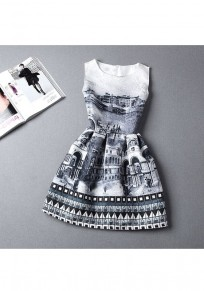 Grey Patchwork Pattern Sleeveless Fashion Slim Mini Dress