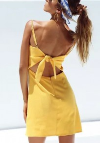 Yellow Plain Spaghetti Strap Zipper Cut Out Tie Back Mini Dress