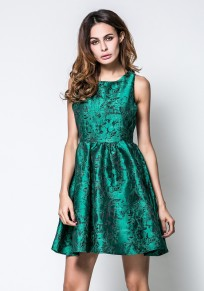 Green Floral Embroidery Pleated Round Neck Sleeveless Fashion Mini Dress