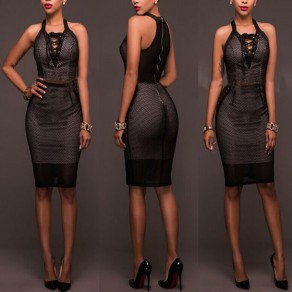 Black Plain Zipper Hollow-out Lace-up Sleeveless V-neck Bodycon Midi Dress