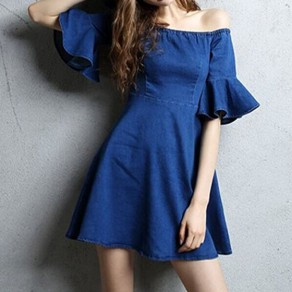Dark Blue Plain Ruffle Draped Boat Neck Off-shoulder A-line Denim Mini Dress