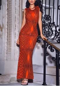 Nacarat Geometric Sequin Round Neck Sleeveless Mermaid Prom Evening Party Maxi Dress