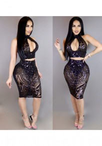 Black Floral Sequin High Neck Two Piece See-through Backless Bodycon Midi Dress