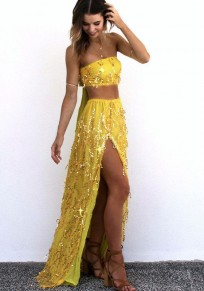 Yellow Patchwork 2-in-1 Bandeau Sequin Tie Back Maxi Dress