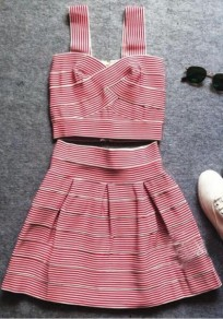 Red Striped 2-in-1 Pleated V-neck Mini Dress