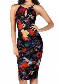 Black Floral Print Cut Out Sleeveless Vintage Bodycon Midi Dress