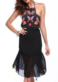 Black Patchwork Butterfly Print Irregular Tie Back Halter Neck Chiffon Midi Dress