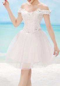 Weiß Spitze Boot-Ausschnitt Off Shoulder Süße Minikleid Brautjungfernkleider Kurz