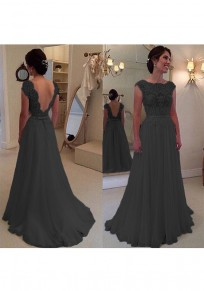 Black Patchwork Lace Hollow-out Round Neck Prom Evening Party Maxi Dress