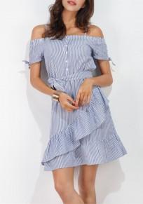 Light Blue Striped Spaghetti Strap Sashes Single Breasted Peplum Off-shoulder Mini Dress