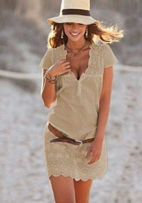 Khaki Patchwork Lace Buttons Short Sleeve Fashion Mini Dress