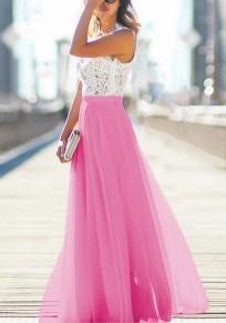 Carminerosa Weiß Spitze Splicing Tüll Rundhals Mode Maxi Tüllkleid Elegante Abendkleid